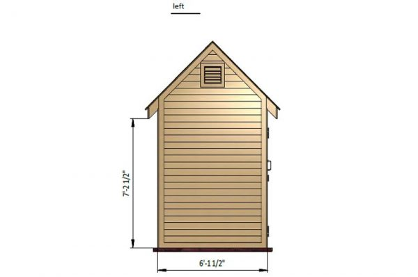 6x8 gable storage shed left side preview