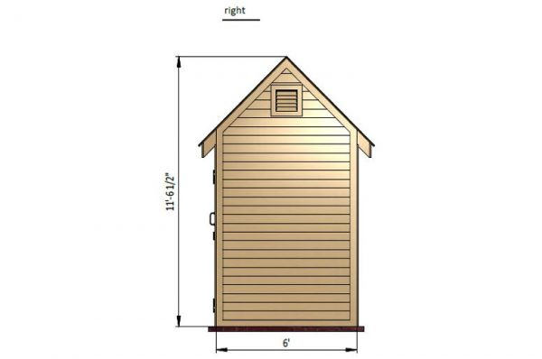 6x8 gable storage shed right side preview
