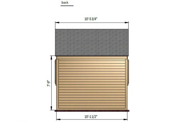 8x10 gable garden shed back side preview