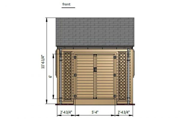 8x10 gable garden shed front side preview