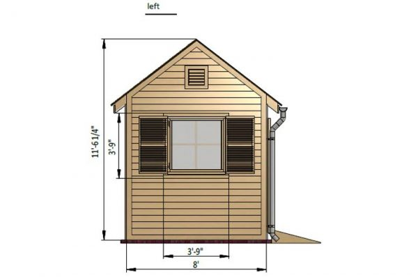 8x10 gable garden shed left side preview