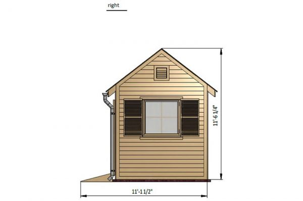 8x10 gable garden shed right side preview
