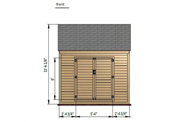 8x10 gable storage shed front side preview