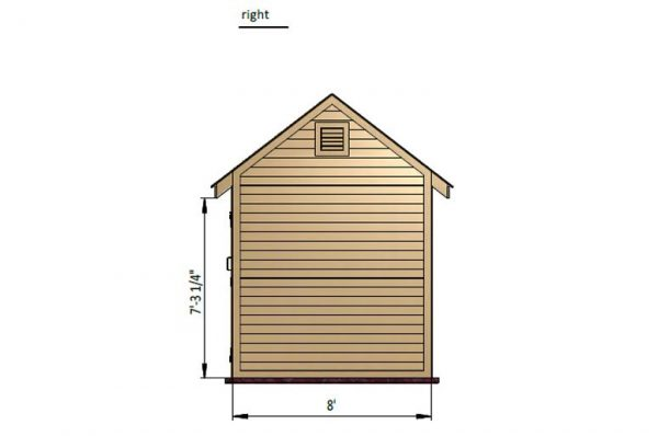 8x10 gable storage shed right side preview