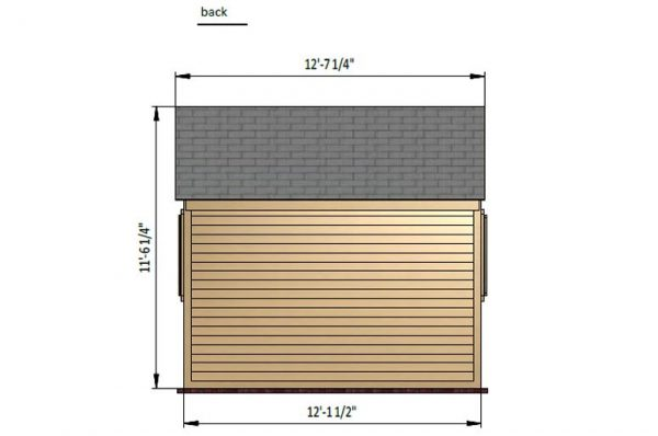 8x12 gable garden shed back side preview