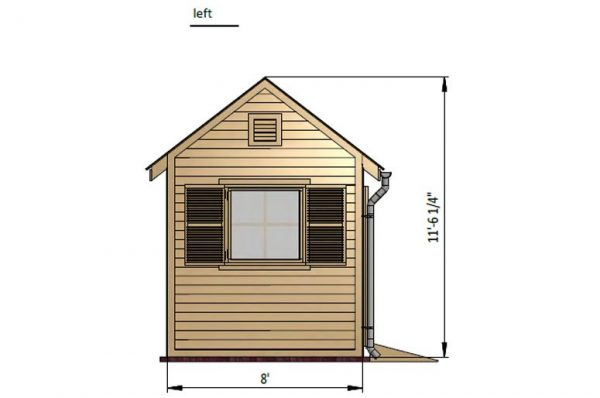 8x12 gable garden shed left side preview