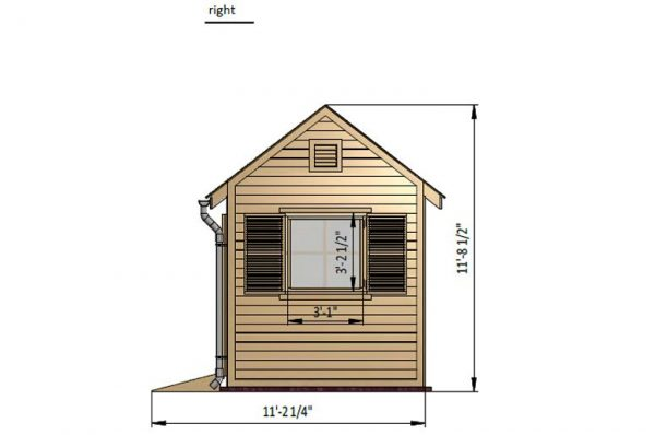 8x12 gable garden shed right side preview