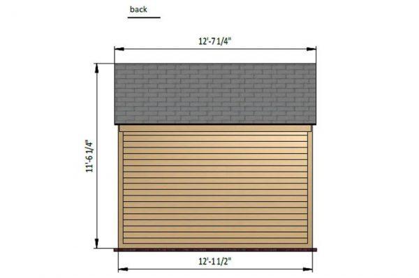 8x12 gable storage shed back side preview