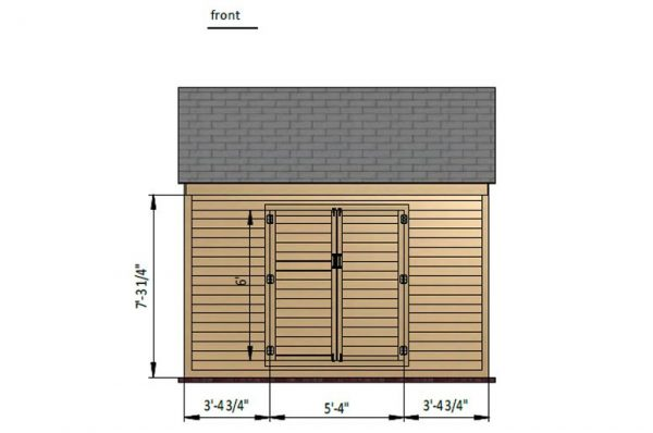 8x12 gable storage shed front side preview