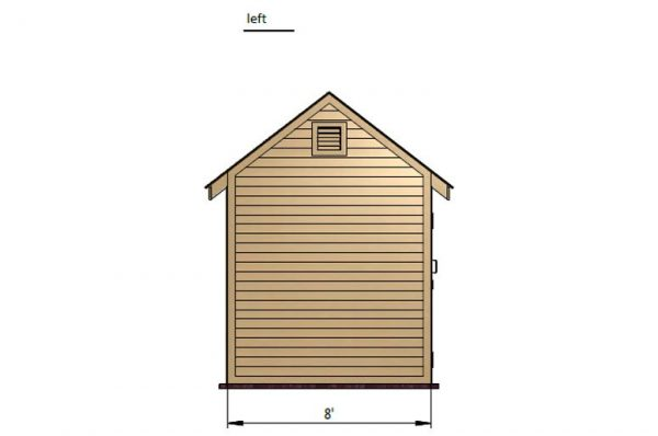8x12 gable storage shed left side preview