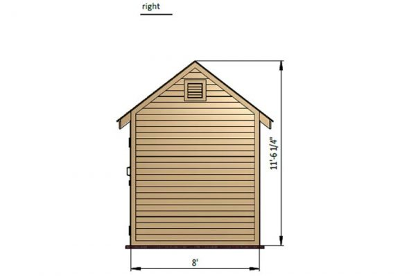 8x12 gable storage shed right side preview