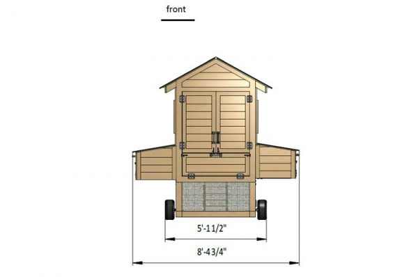 8x15 chicken coop front side preview
