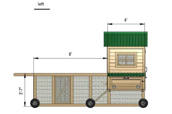 8x15 chicken coop left side preview