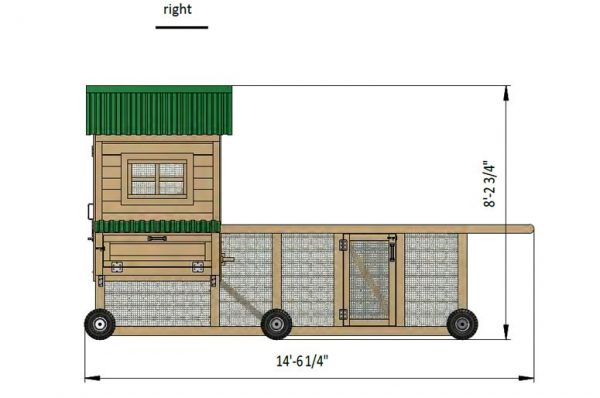 8x15 chicken coop right side preview