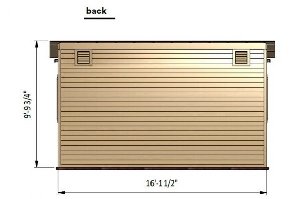 8x16 lean to garden shed back side preview