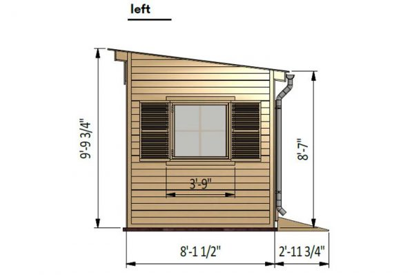 8x16 lean to garden shed left side preview