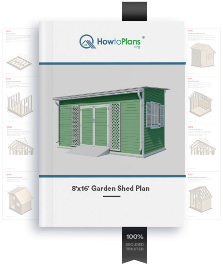 8x16 lean to garden shed plan product