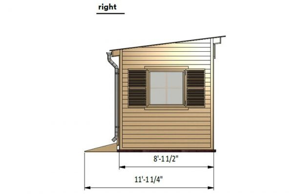 8x16 lean to garden shed right side preview