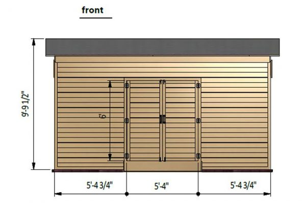 8x16 lean to storage shed front side preview