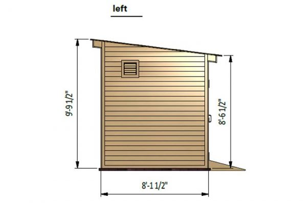 8x16 lean to storage shed left side preview