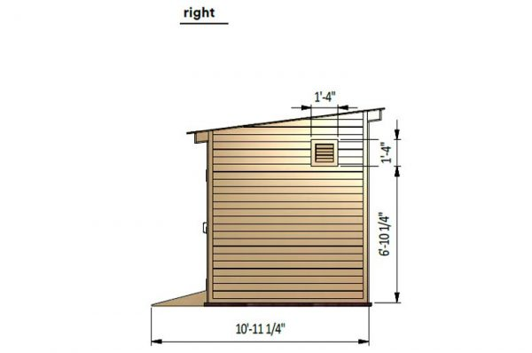 8x16 lean to storage shed right side preview