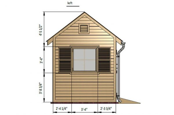 8x8 gable garden shed left side preview
