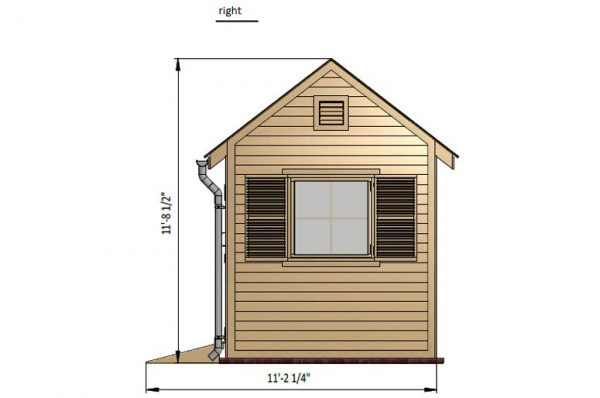 8x8 gable garden shed right side preview