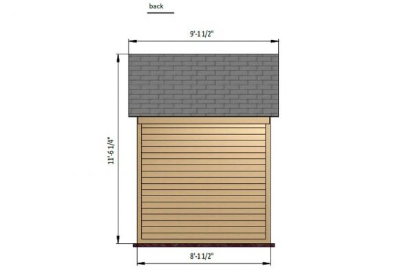 8x8 gable storage shed back side preview
