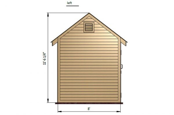 8x8 gable storage shed left side preview