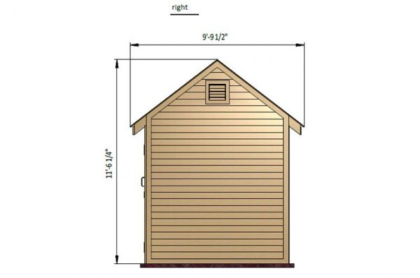 8x8 gable storage shed right side preview