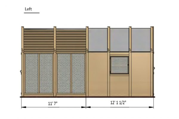 24x8 walk in chicken coop left side preview