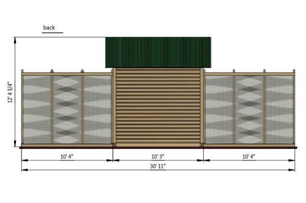 30x15 walk in chicken coop back side preview