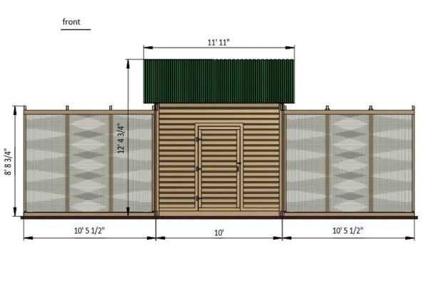 30x15 walk in chicken coop front side preview