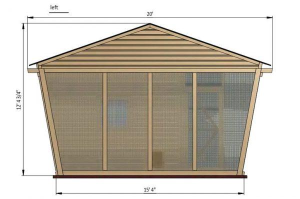 30x15 walk in chicken coop left side preview