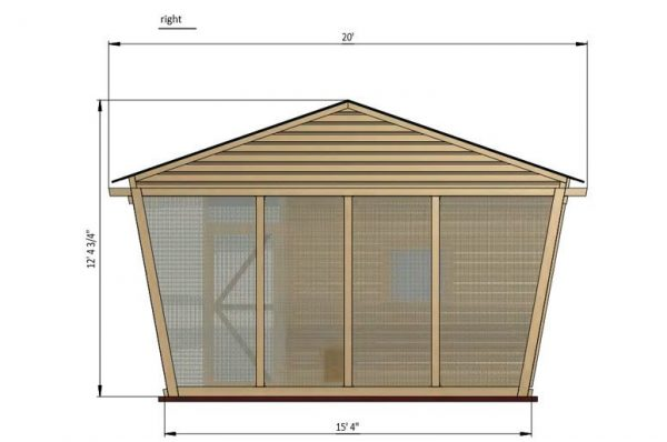 30x15 walk in chicken coop right side preview