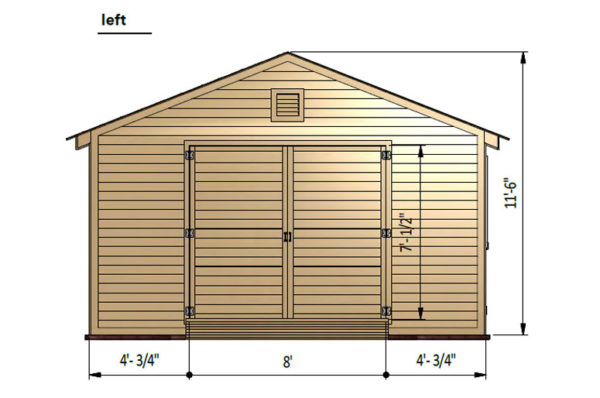 16x20 gable garage shed left side preview