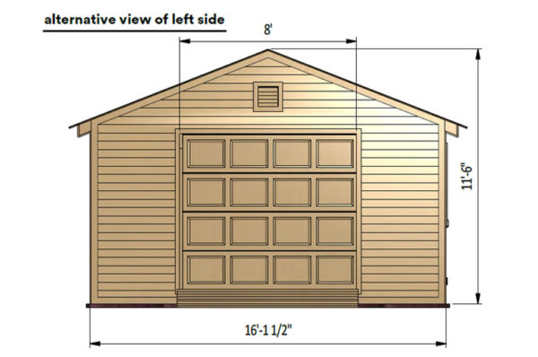 16x20 gable garage shed left side preview with lift doors