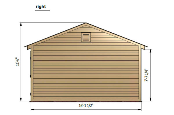 16x20 gable garage shed right side preview