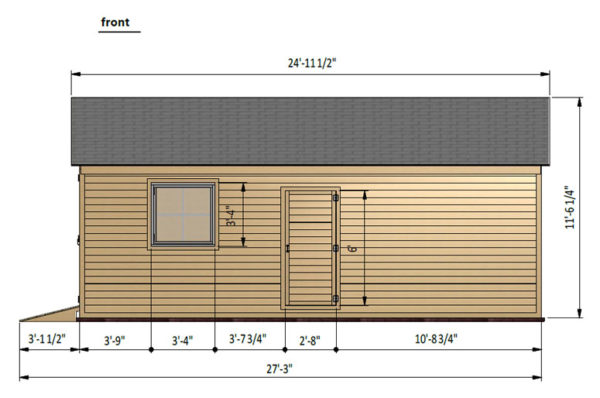 16x24 garage shed front side preview