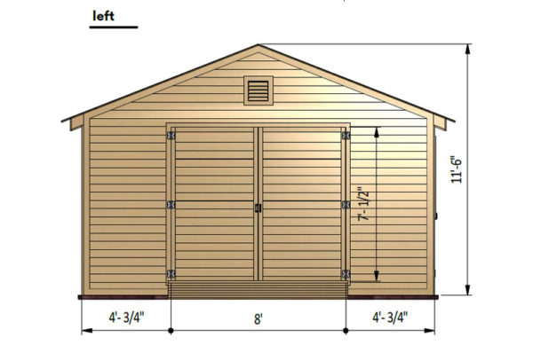16x24 garage shed left side preview