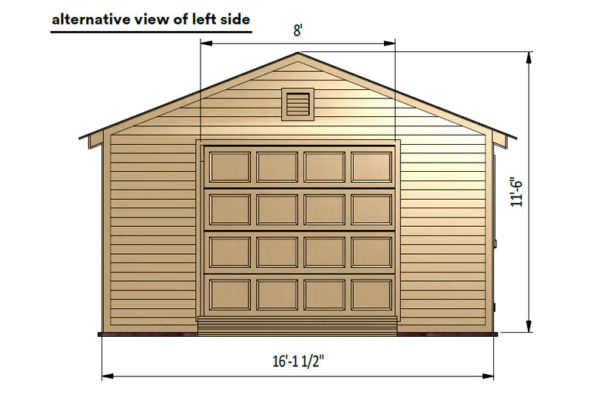16x24 garage shed left side preview with lift doors
